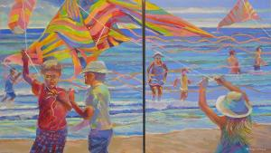 A. Pazos Oil Painting (diptych)  24x60 / $1,100